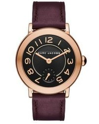 Marc Jacobs Riley Rose Goldtone Stainless Steel Leather Strap Watch