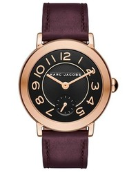 Marc Jacobs Riley Round Leather Strap Watch 36mm