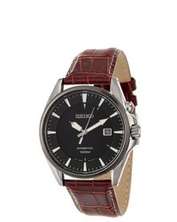 Seiko Kinetic Stainless Steel Power Reserve Burgundy Leather Watch