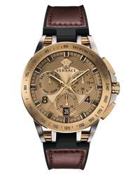 Versace Sport Tech Chronograph Leather Watch