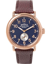 Shinola The Runwell 41mm Pvd Rose Gold Plated And Pebble Grain Leather Watch