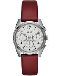 DKNY Unisex Crosby Burgundy Leather Strap Watch 36mm Ny2533