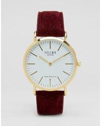 Reclaimed Vintage Wool Strap Watch In Burgundy