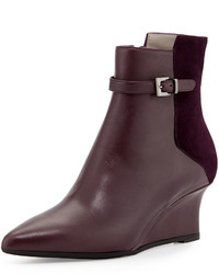 Aquatalia Deniz Leather Wedge Bootie Plum