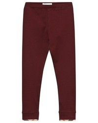 Burberry Burgundy Classic Leggings With Check Trim
