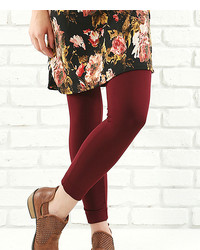 Burgundy Fleece Lined High Waist Leggings