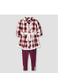 Young Hearts Toddler Girls 2 Piece Set Shirt Dress Legging Burgundy