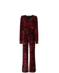 Balmain Leopard Print Wide Leg Velvet Jumpsuit