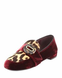 Prada Velvet Leopard Print Loafer Dark Red
