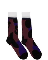Sacai Burgundy Leopard Socks
