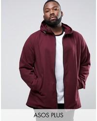 Asos Plus Lightweight Parka Jacket In Burgundy