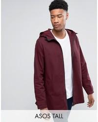 Asos Tall Lightweight Parka Jacket In Burgundy