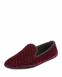 Bottega Veneta Intrecciato Quilted Velvet Smoking Slipper Maroon