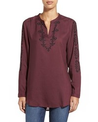 Embroidered split neck blouse medium 352513