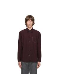 Maison Margiela Burgundy Gart Dyed Slim Shirt