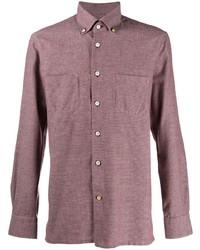 Kiton Micro Check Button Collar Shirt