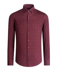 Bugatchi Ooohcotton Tech Herringbone Knit Button Up Shirt