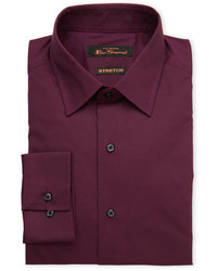 Ben Sherman Solid Burgundy Stretch Dress Shirt