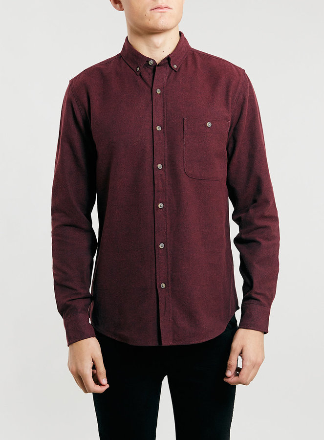 Topman Burgundy Brushed Oxford Long Sleeve Shirt | Where to buy ...