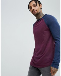 ASOS DESIGN Asos Longline Long Sleeve T Shirt In Linen Look With Curve Hem In Oxblood
