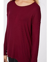 Missguided Simi Long Sleeve Ribbed Jersey Top Burgundy | Where to ...
