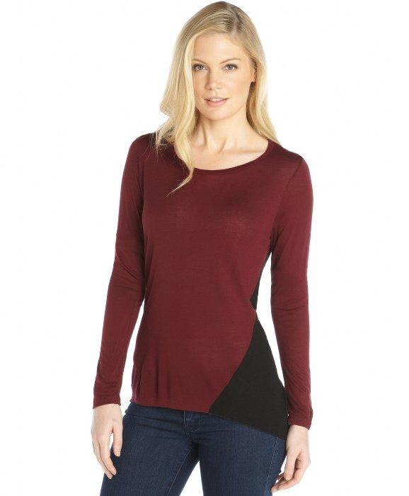 Wyatt burgundy and black knit colorblock long sleeve hi for Burgundy long sleeve t shirt womens