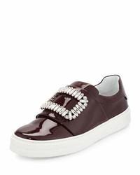 Roger Vivier Leather Strass Buckle Sneaker Burgundy
