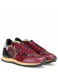 Valentino Garavani Rockrunner Lace Leather And Suede Sneakers