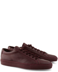 Woman By Common Projects Bordeaux Leather Low Top Achilles Sneakers