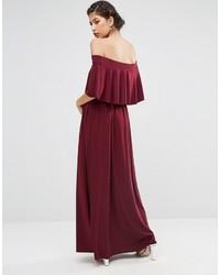 16fb72651f0 ... Asos Wedding Off Shoulder Frill Maxi Dress ...