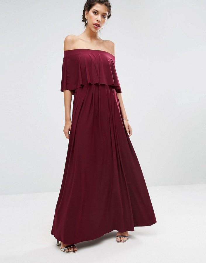 620b19ba1187 ... Burgundy Maxi Dresses Asos Wedding Off Shoulder Frill Maxi Dress ...