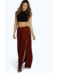 Boohoo Soraya Tie Waist Split Frint Slinky Maxi Skirt