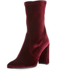 Stuart Weitzman Clinger Stretch Velvet Mid Calf Boot