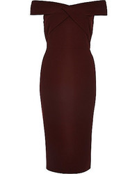 River Island Dark Red Bardot Bodycon Midi Dress