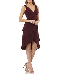 JS Collections Layered Crepe Cocktail Dress