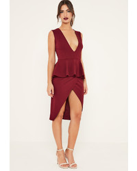 Long sleeve mesh top midi dress burgundy