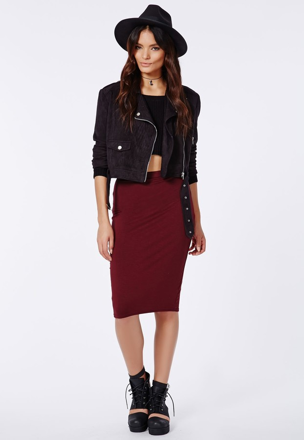 Missguided Abbie Jersey Midi Skirt Burgundy | Where to buy & how ...