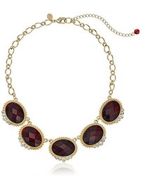 1928 Jewelry Gold Tone Red With Crystal Accent Oval Faceted Station Collar Necklace 16