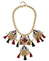 J.Crew Chevron Tassel Gold Plated Multi Stone Necklace