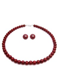 FashionJewelryForEveryone Unbeatable Bridemaids In Passionate Coral Red Pearls Necklace Set