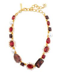 Oscar de la Renta Gold Tone Crystal And Faux Pearl Necklace