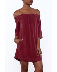 Glam Burgundy Pocket Dress