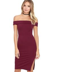 LuLu*s Foxy Lady Burgundy Off The Shoulder Bodycon Dress
