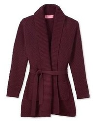 Burgundy Open Cardigan