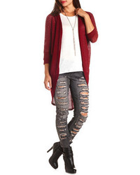 0cbcab7db7 Charlotte Russe Mixed Stitch Cascade Cardigan Sweater Out of stock · Charlotte  Russe Open Knit Pleated Cocoon Duster Cardigan