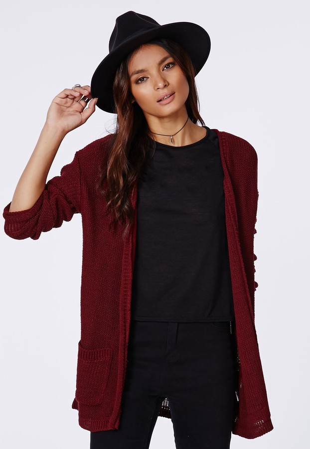 Missguided Aria Knit Boyfriend Cardigan Burgundy | Where to buy ...