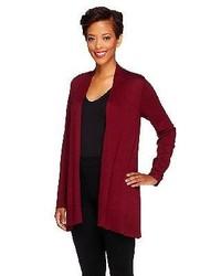 Susan Graver Cascade Front Long Sleeve Cardigan Sweater