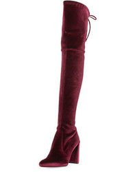 Stuart Weitzman Highchamp Stretch Velvet Over The Knee Boot