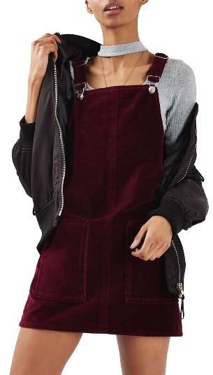 Topshop Velvet Pinafore Dress