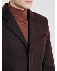 ... Topman Burgundy Wool Blend Overcoat
